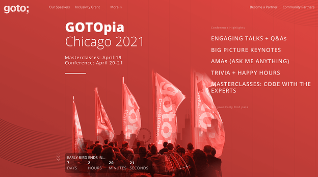 The GOTOpia conference website homepage design