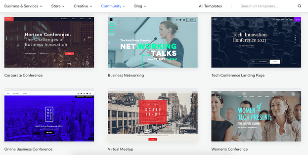 The Wix Conference templates page