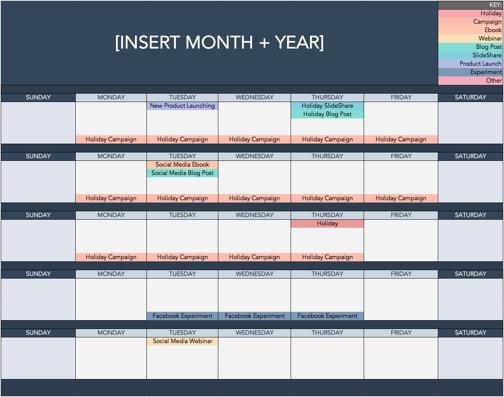 social media holiday calendar template