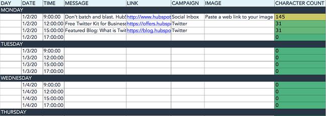 HubSpot social media content calendar for twitter