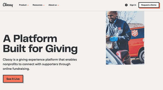 Business crowdfunding: homepage for Classy