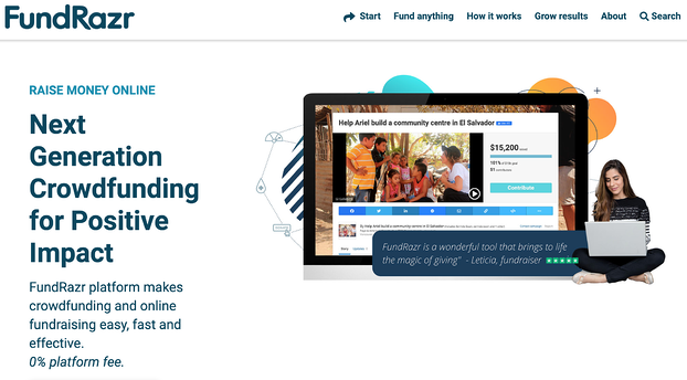 Business crowdfunding: homepage for FundRazr