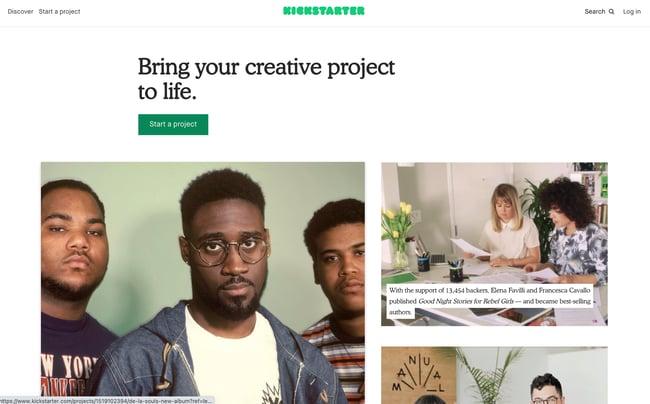 Business crowdfunding: homepage for kickstarter