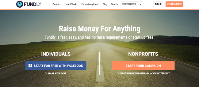 Business crowdfunding: homepage for Fundly