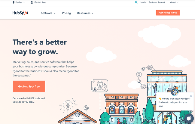HubSpot homepage optimized for conversions with a clear CTA
