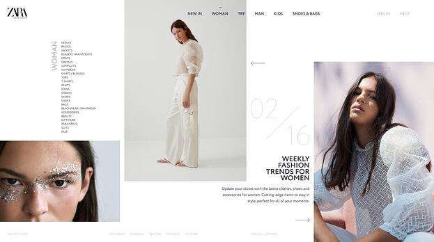 the Zara website in a broken grid layout