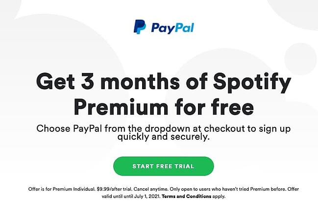 Spotify premium three month free trial example