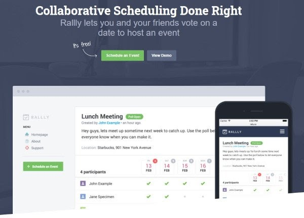 rallly appointment scheduling software page