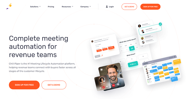Chili Piper scheduling software homepage featuring images of calendars and individuals in a virtual meeting