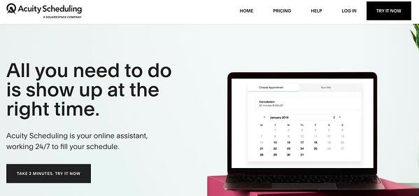 Acuity best scheduling app homepage featuring a laptop showing a calendar.