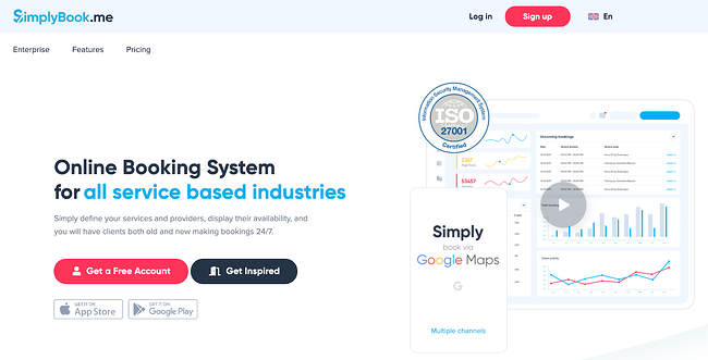 SimplyBook scheduling app home page featuring Google maps, charts, and graphs
