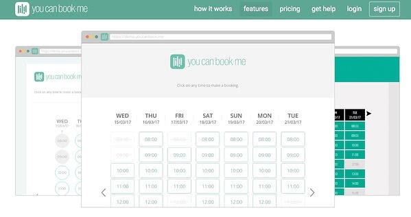 you can book me scheduling app homepage featuring the software's green and white interface