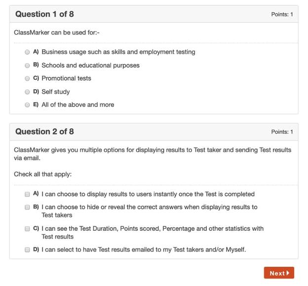 ClassMarker quiz maker interface