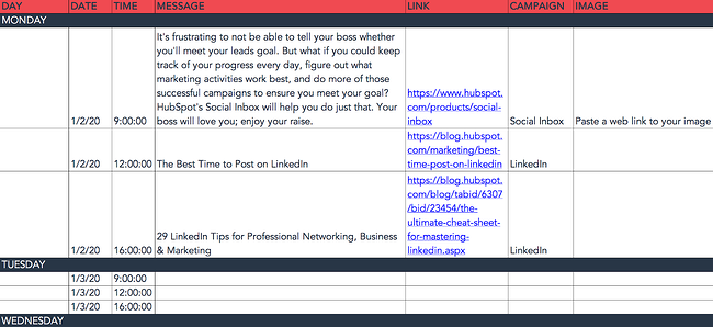 HubSpot social media content calendar for Linkedin