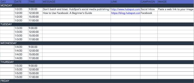 HubSpot social media calendar for facebook