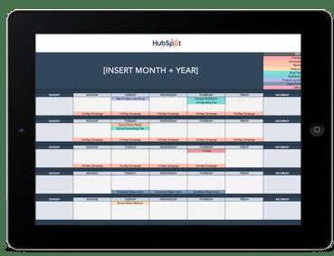 HubSpot's social media calendar template pictured in an ipad