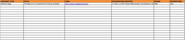 HubSpot social media content calendar's content repository