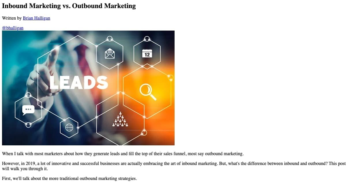 screenshot of a hubspot blog post without css styling