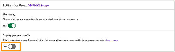 Settings interface for the LinkedIn group.