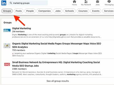 ow to Find Groups on LinkedIn step 2
