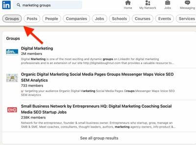 Find groups on LinkedIn Step 2.