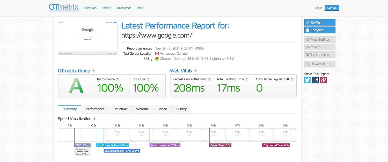 screenshot of the website performance assessment GTmetrix