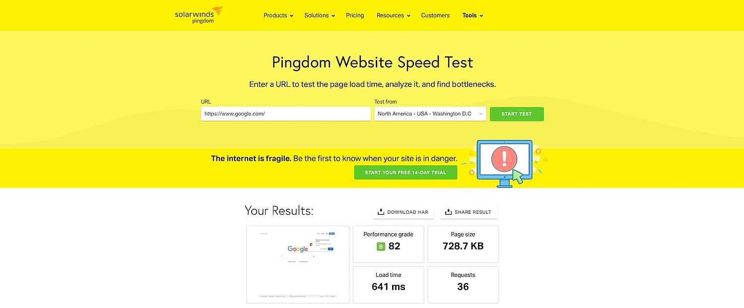 screenshot of the website performance assessment Pingdom