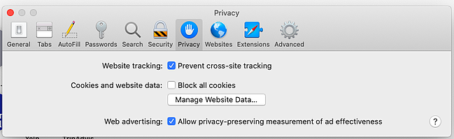 Click manage website data to clear cookies on safari