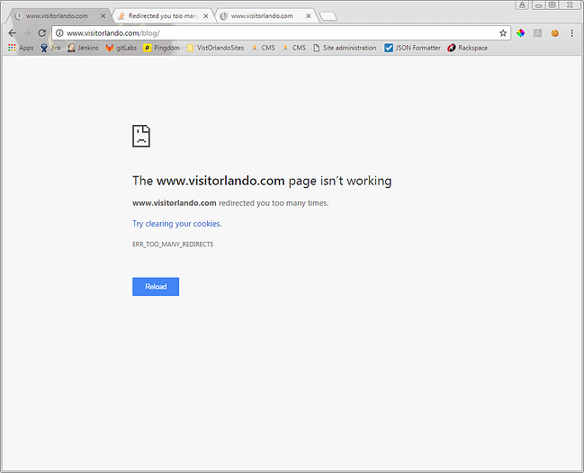 too many redirects chrome