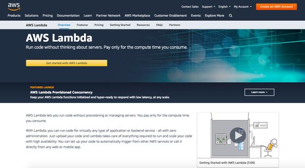 AWS Lambda serverless architecture homepage