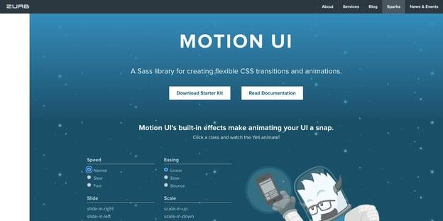 landing page of Motion UI, a website development trend in 2021