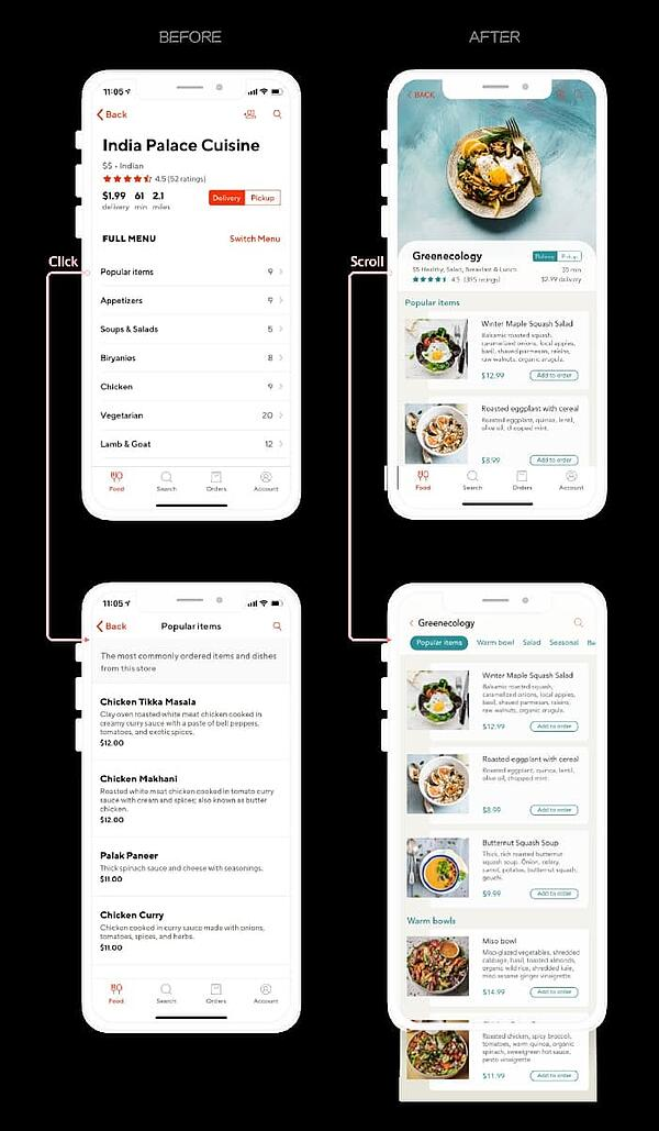 Redesigned menu of India Palace Cuisine on Doordash app for UX project