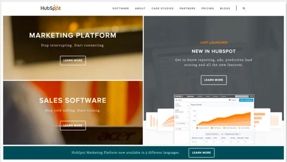 2016 Redesign of HubSpot homepage for UX