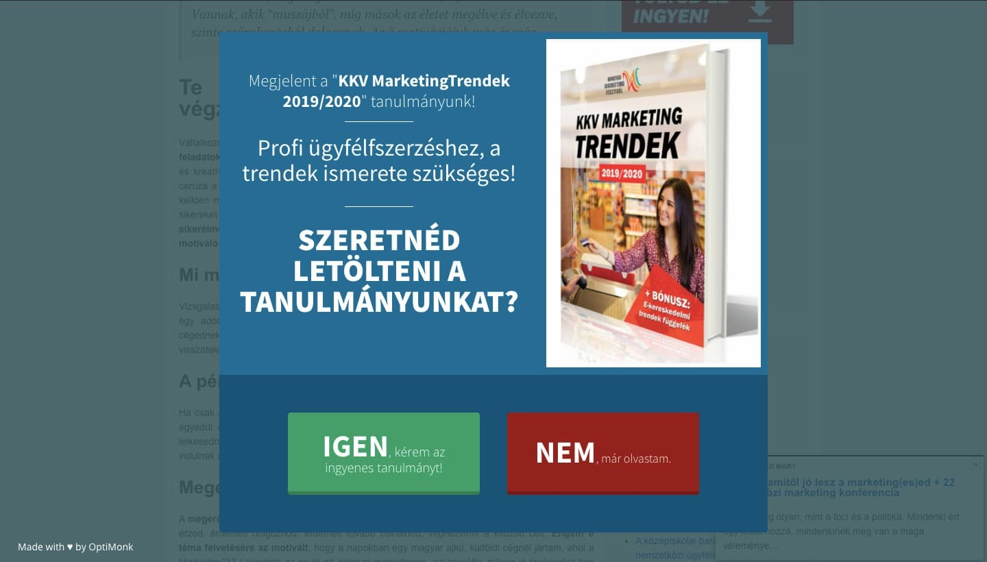 Lightbox popup offering content upgrade on Marketing 112 in Hungarian