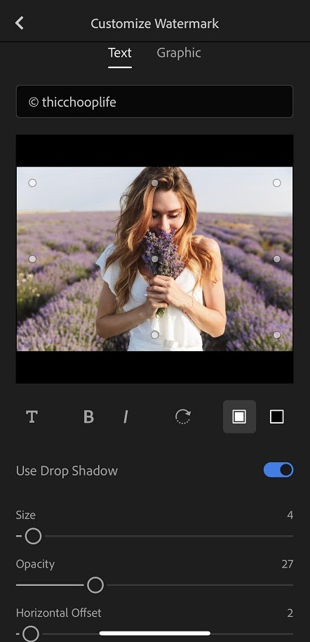 Adding text watermark in Adobe Lightroom Classic to prevent hotlinking