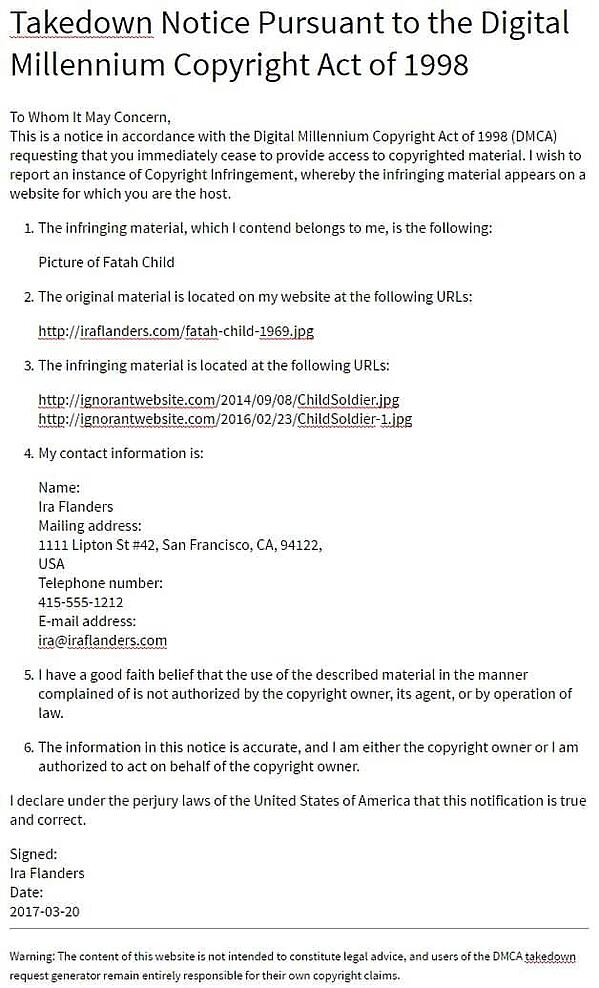Example of DMCA notice you can send to website that's hotlinking an image or file from your website