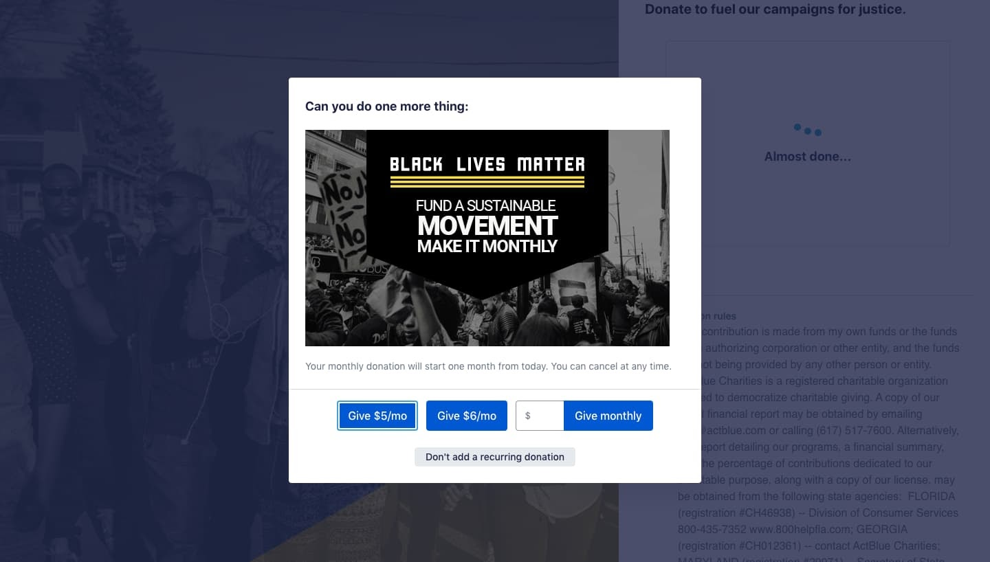 Black Lives Matter uses a lightbox popup to ask one-time donors to make it monthly