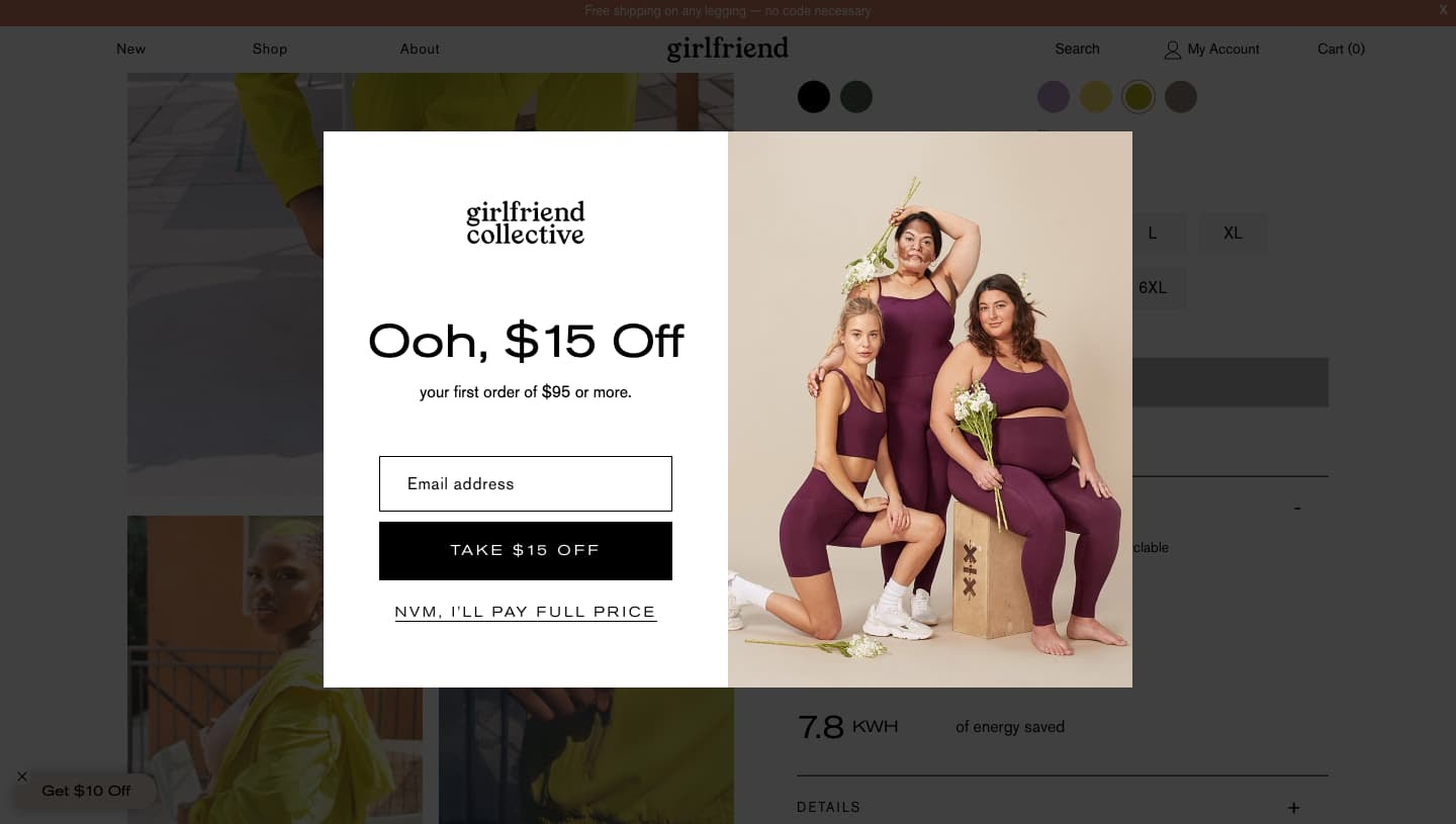 Lightbox popup offering coupon on Girlfriend Collective