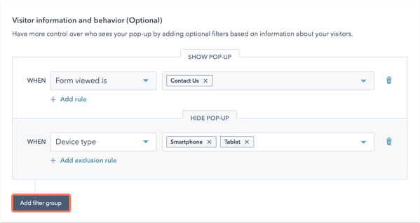 Setting triggers for popups based on visitor information and device in HubSpot's popup tool