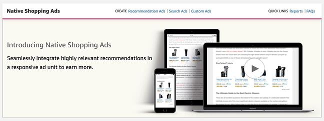 the homepage for the AdSense alternative Amazon NAtive Shopping Ads