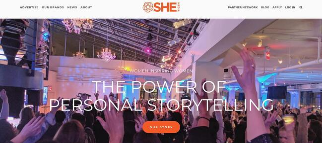 the homepage for the AdSense alternative she media