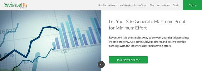 the homepage for the AdSense alternative RevenueHits