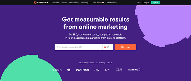 product page for the long tail keyword tool semrush