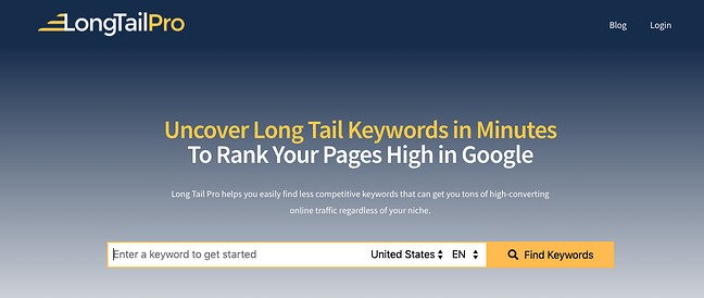 product page for the long tail keyword tool longtailpro