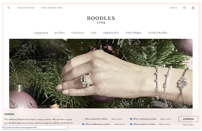 homepage for the boodles website, powered by the magento cms