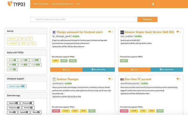 4 of the 6,000 third-party tools and services available in the TYPO3 Extension Repository