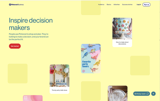 homepage for the pinterest website, powered by the drupal cms