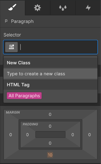 User creating reusable CSS classes in Webflow CMS