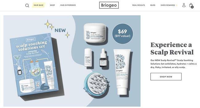 homepage for the briogeo website, powered by the shopify cms