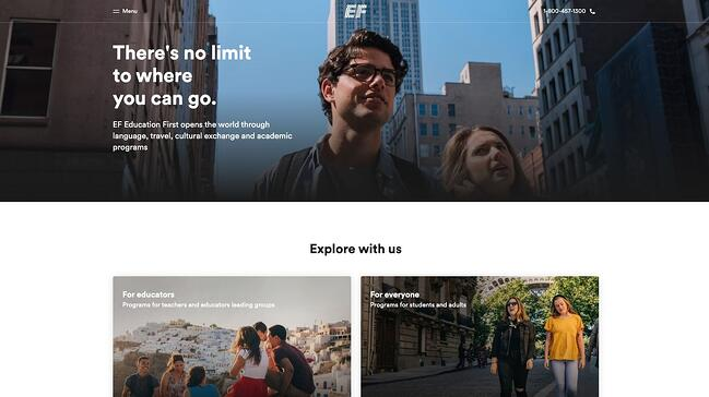 homepage for the education first website, powered by the storyblok cms